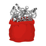 Skeletons sack in Santa Claus in Halloween. Many skulls in red b Stock Photo