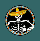 Skeletons and sombrero. Day of the Dead. Multi-colored skull in. Mexican hat. Emblem for National Holiday in Mexico. Illustration Ethnic feast Royalty Free Stock Image