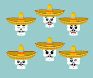Skeletons and sombrero set for Day of the Dead. Multi-colored sk. Ull in Mexican hat. Emblem for National Holiday in Mexico. Illustration Ethnic feast Stock Images