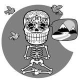 Skeletons. T-shirt. Meditacion. Man Stock Photography