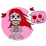 Skeletons. T-shirt. Meditacion. Woman stock illustration