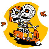 Skeletons. T-shirt. Ways of Love. Contour illustration on a T-shirt - love boy and girl ride a scooter Stock Image