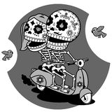 Skeletons. T-shirt. Ways of Love. Contour illustration on a T-shirt - love boy and girl ride a scooter Royalty Free Stock Image