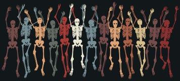 Skeletons together. Colorful group of editable skeletons jumping together vector illustration