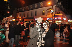 Skeletons at Toronto Zombie walk and parade. Two spooky scary skeletons at the 2015 Toronto Zombie walk and parade on Halloween Stock Photos