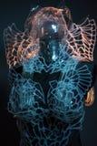 Skelett Crystal skalle som utformar med färgrika ljusa effekter, tra Arkivfoto