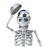 Skelett 3d hat einen Fußball für ein Gehirn Stockfotografie