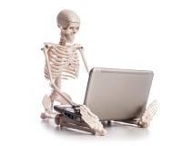 Skelett, das an Laptop arbeitet Stockfotografie