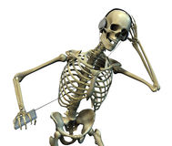 Skelett, das Musik hört Lizenzfreies Stockfoto