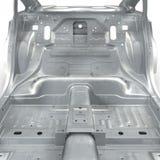 Skelett eines Autos auf Weiß Abbildung 3D Lizenzfreies Stockfoto