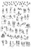 skelett för hand för tecknad filmsamlingsdraw vektor illustrationer