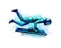 Skelett från färgstänk av vattenfärger Den tecknade handen skissar Nedstigning för vintersport på en släde royaltyfri illustrationer