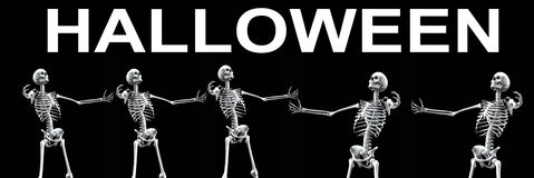 Skelett- grupp Halloween 3 Arkivbilder