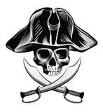 Skelett- huvud med korsade svärd Royaltyfria Bilder