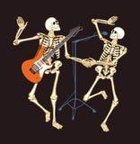 Skelett i konsert! stock illustrationer