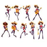 Skelett i mexicanska medborgaredräkter som dansar och spelar gitarren, trumpet, maraca, Dia de Muertos, dag av dödaen vektor illustrationer