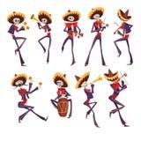 Skelett im mexikanischen nationalen Kostümtanzen, Violine spielend, Trompete, Trommel, Dia de Muertos, Tag des toten Vektors lizenzfreie abbildung