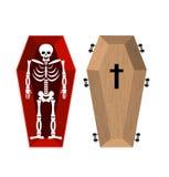 Skelett im Sarg Öffnen Sie Schatulle und Schädel und Knochen Toter Mann herein vektor abbildung