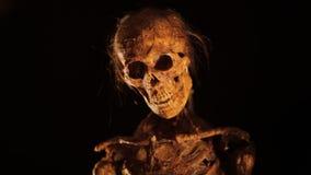Skelett kommt von der Dunkelheit stock footage