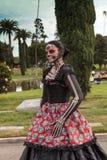 Skelett- kvinnaaktör på Diameter de los Muertos Royaltyfria Foton