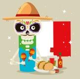 Skelett- man med den Mexiko mannen och taco royaltyfri illustrationer