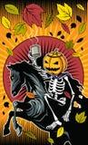 Skelett- ritt för allhelgonaaftonpumpa på skelett- häst Royaltyfria Foton