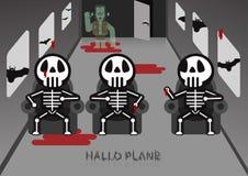Skelett sitzen auf Stuhl im Flugzeugraum mit Frankenstein in conc Lizenzfreie Stockfotos