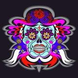 Skelett- skalle för tecknad film med den Mexico prydnadaffischen stock illustrationer