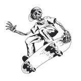 Skelett- spela skateboard royaltyfri illustrationer