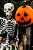 Skelett und Pumpkinhead 1 Lizenzfreies Stockbild