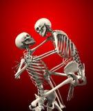 Skelette, die sich angreifen Stockfoto