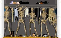 Skelette im Wandschrank stockbild