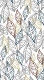 Skelette von Blättern von verschiedenen hellen Farben auf einem dunkelgrauen Hintergrund, nahtloses Vektormuster vektor abbildung