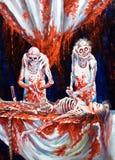 Skelette wenden blutige Abtreibung auf Stockbild