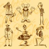Skeletten - clowns Beeldverhaal polair met harten Vinyl-klaar Stock Fotografie