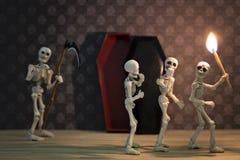 Skeletten in de donkere plaats Royalty-vrije Stock Afbeeldingen
