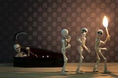 Skeletten in de donkere plaats Royalty-vrije Stock Afbeelding