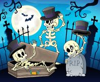 Skeletten dichtbij begraafplaatspoort stock illustratie