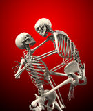 Skeletten die elkaar aanvallen Stock Foto
