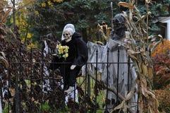 Skeletten en pompoenen verfraaide gewone huizen voor Halloween i stock foto