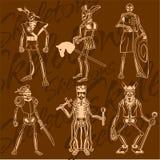 Skeletten - ridder Vinyl-klaar illustratie Stock Foto's