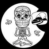 skeletten T-shirt Meditacion Mens Stock Afbeeldingen