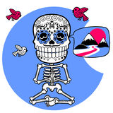 skeletten T-shirt Meditacion Mens Royalty-vrije Stock Foto