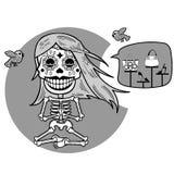 skeletten T-shirt Meditacion Vrouw Stock Foto