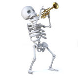 skelettet 3d blåser hans horn royaltyfri illustrationer