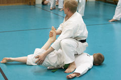Skelleftea, Sweden - February 7, 2011. Shotokan Karate practice with Sensei, Robin Nyholm and Tero Nyholm. Self defense techniques Stock Image