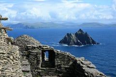 从斯凯利格・迈克尔岛一点Skellig的,爱尔兰的看法 库存图片