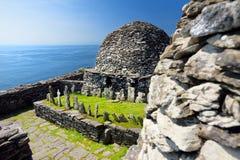 Skellig Michael lub Wielki Skellig, dom rujnować resztki Chrześcijański monaster, kraj Kerry, Irlandia obrazy royalty free