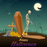 Skelton в ноче хеллоуина иллюстрация штока