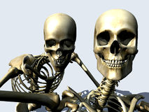 Skelton 12. A pair of Skelton's coming out of a white background Stock Photography